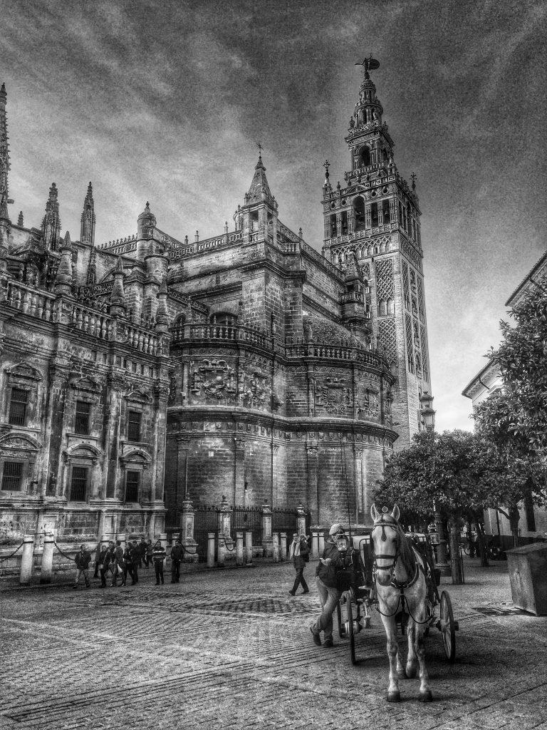 catedral y coche de caballos