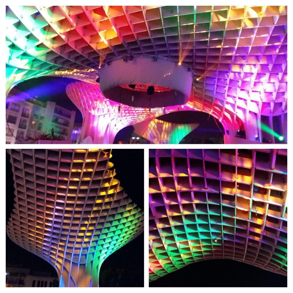 metro parasol celebrando la navidad